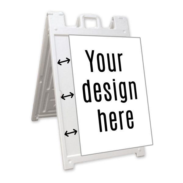 white special frame with sign, white background
