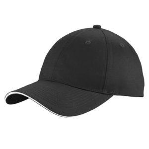 black cap with white stripe, white background