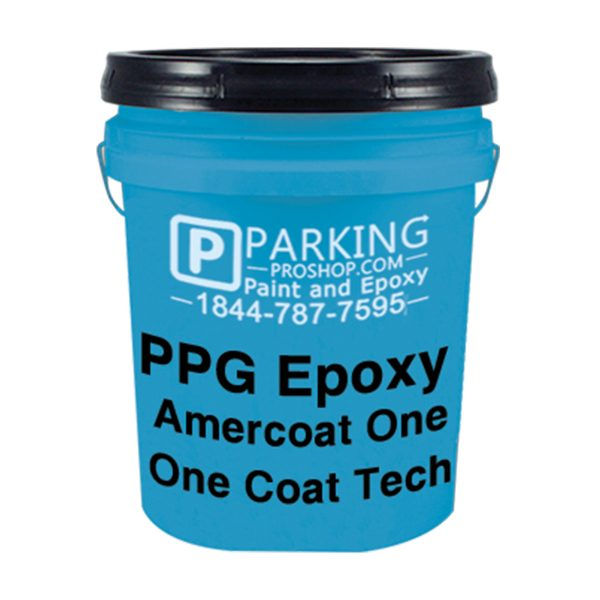 Blue PPG Epoxy Amercoat One Coat Tech gallon, white background