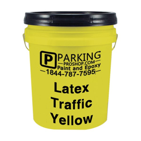 Yellow Latex Traffic Gallon, white background
